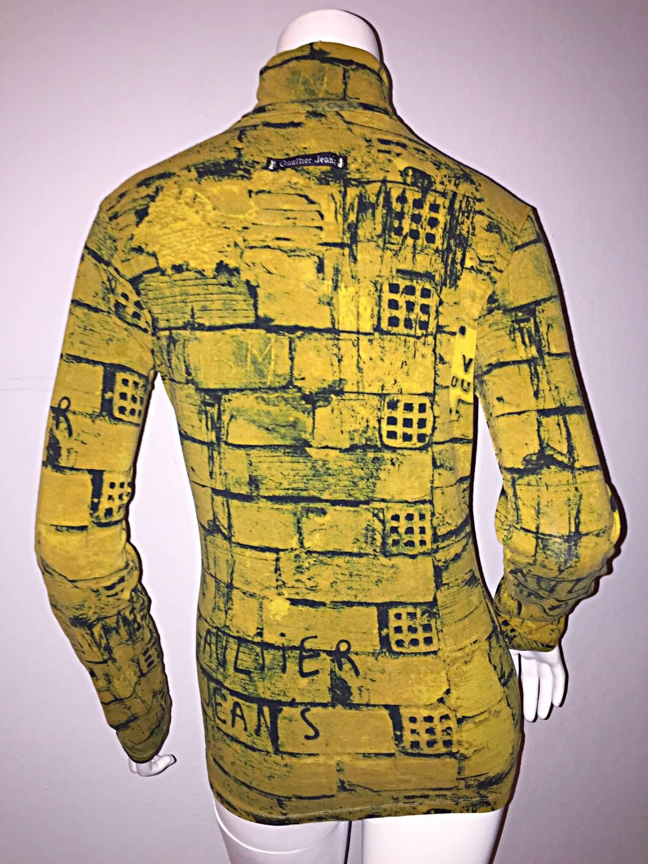 Rare 1990s Vintage Jean Paul Gaultier Graffiti Brick Print Scribble Blouse Shirt 6
