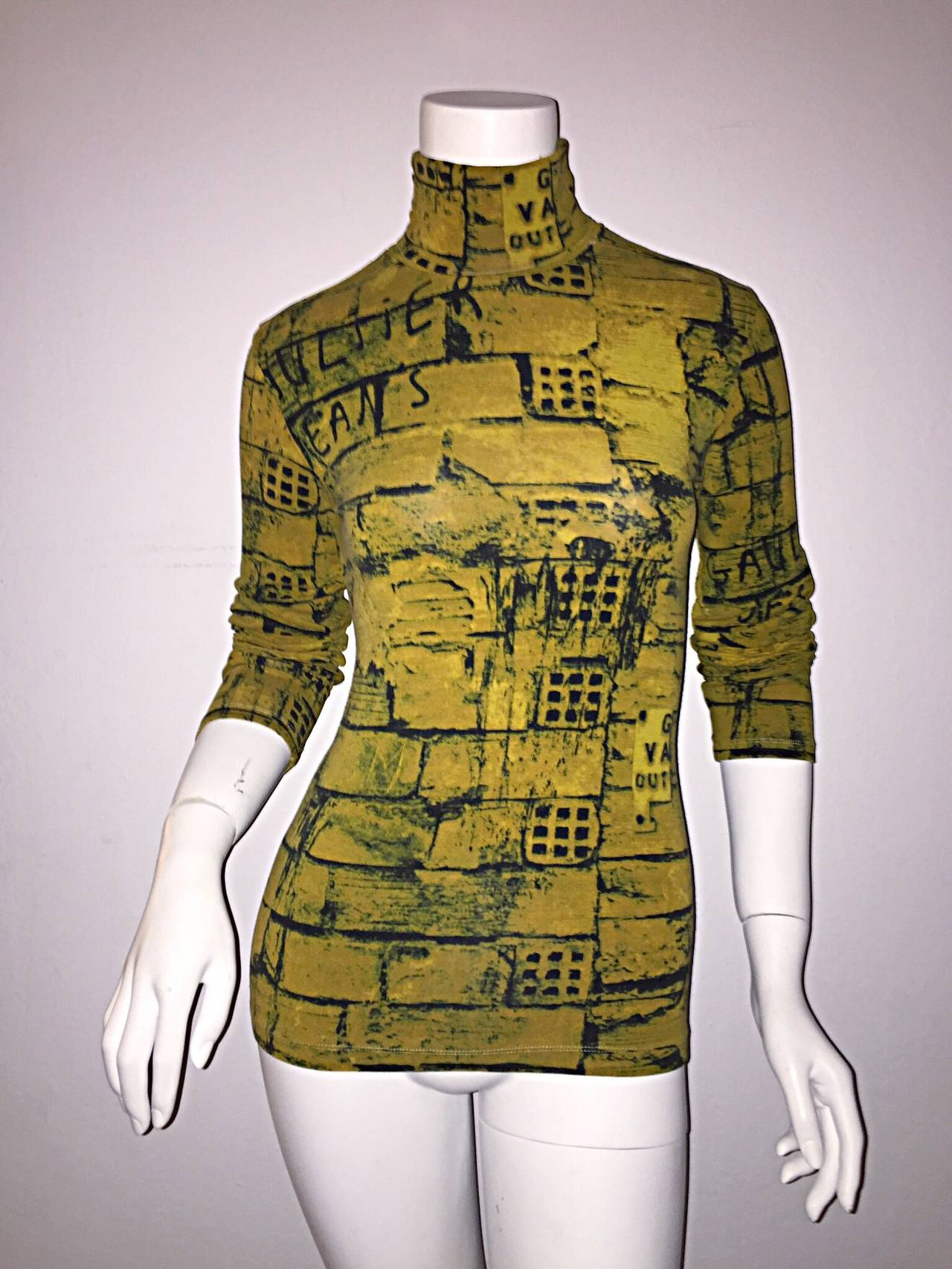 Rare 1990s Vintage Jean Paul Gaultier Graffiti Brick Print Scribble Blouse Shirt 8