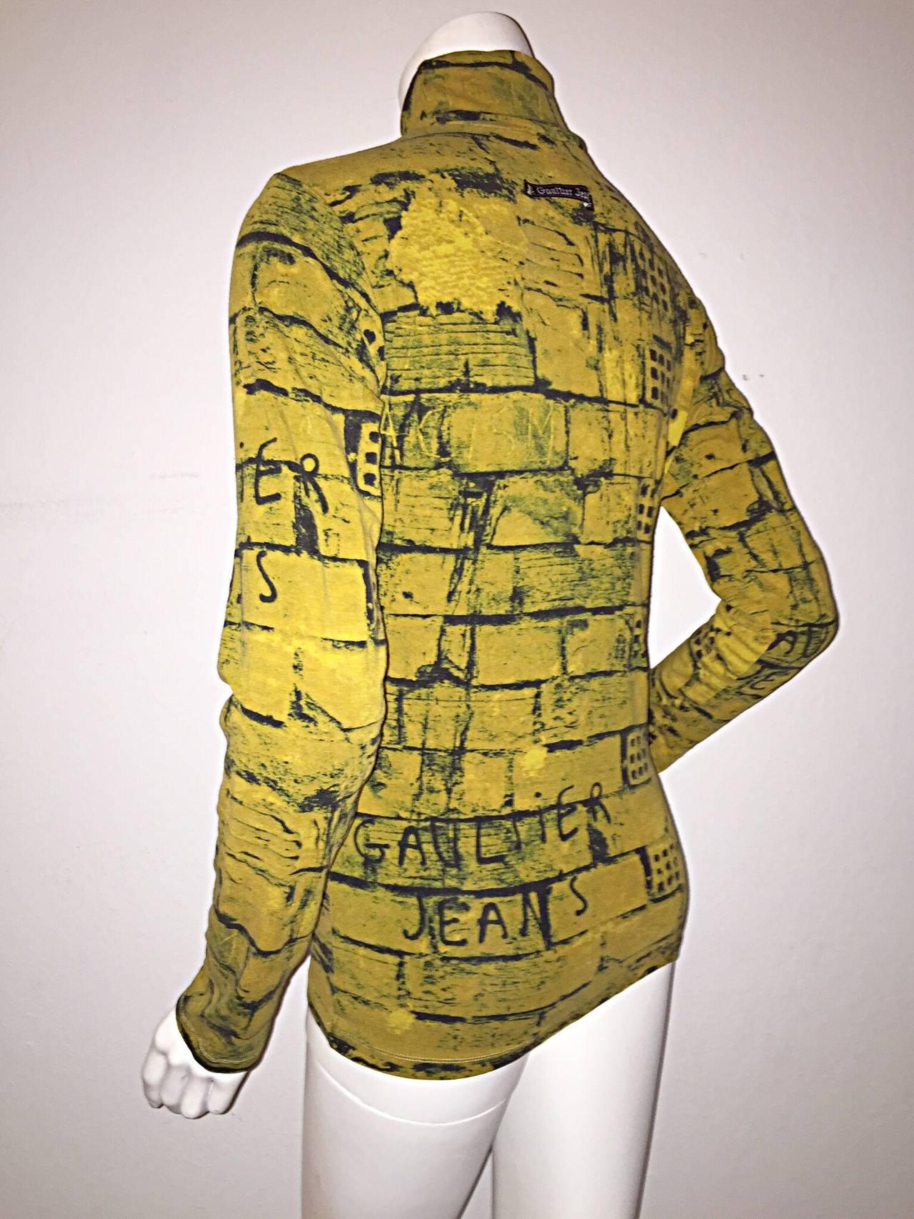 Rare 1990s Vintage Jean Paul Gaultier Graffiti Brick Print Scribble Blouse Shirt 9