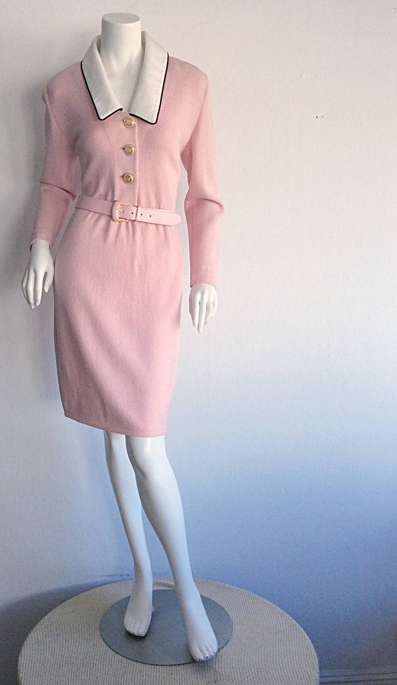 Vintage St. John Marie Gray Pink Santana Knit Belted Dress w/ Removable Collar 2