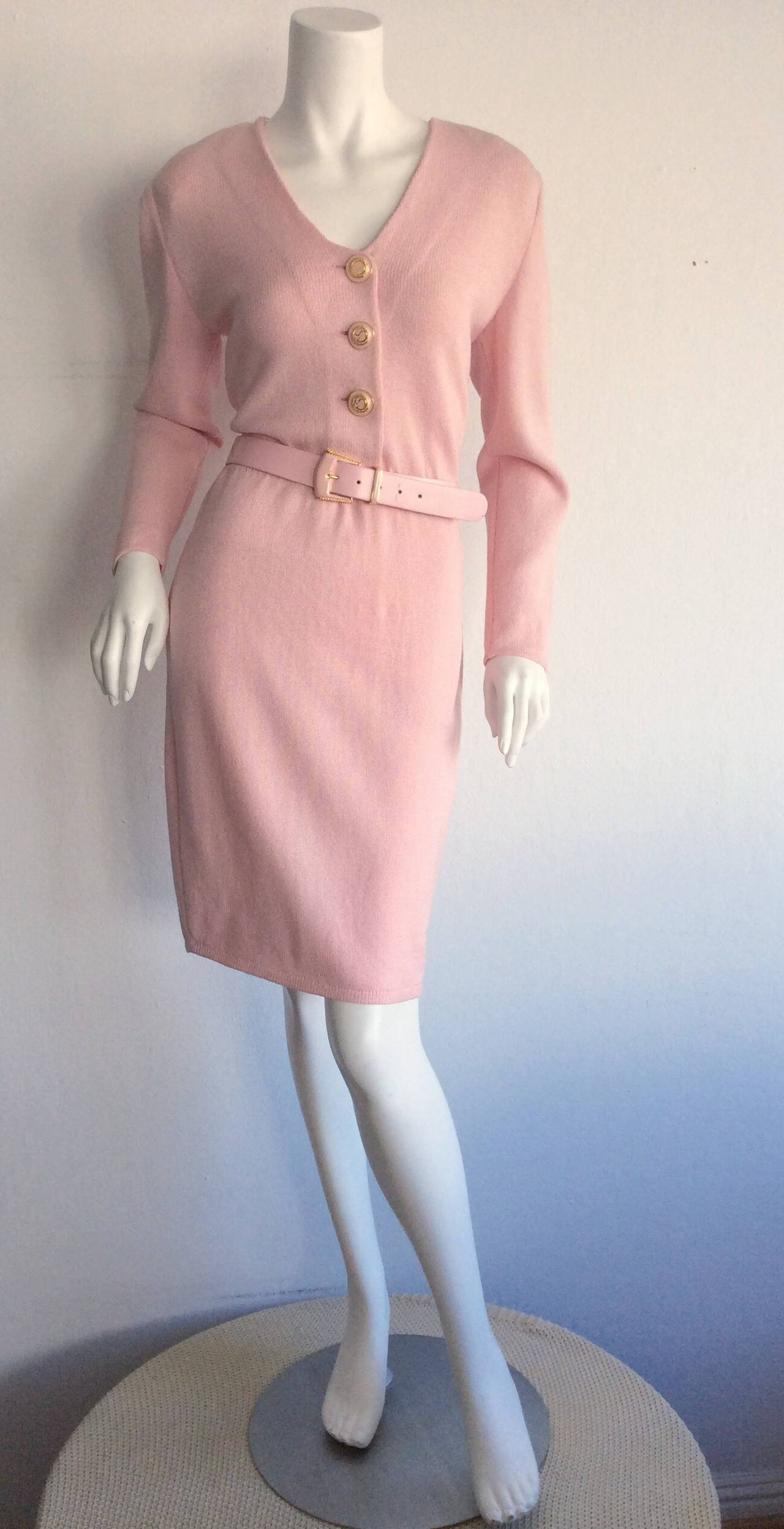 Vintage St. John Marie Gray Pink Santana Knit Belted Dress w/ Removable Collar 3