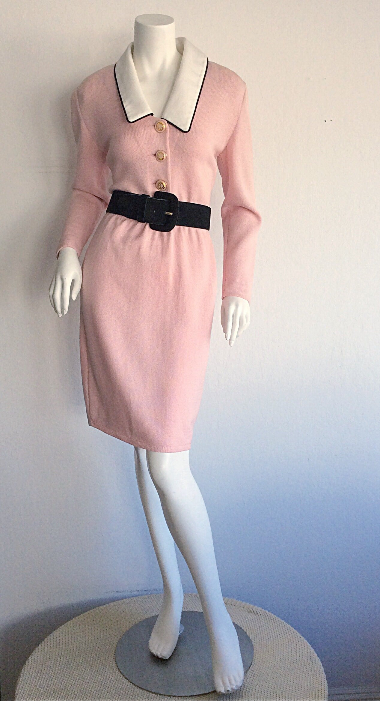Vintage St. John Marie Gray Pink Santana Knit Belted Dress w/ Removable Collar 4