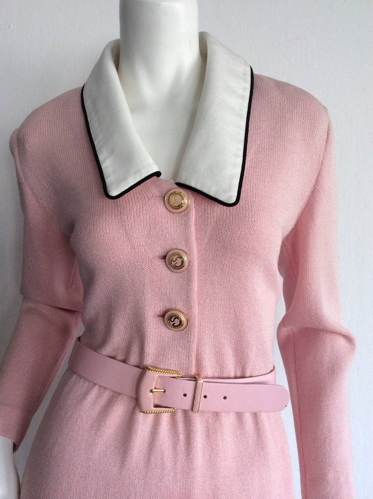 Vintage St. John Marie Gray Pink Santana Knit Belted Dress w/ Removable Collar 6