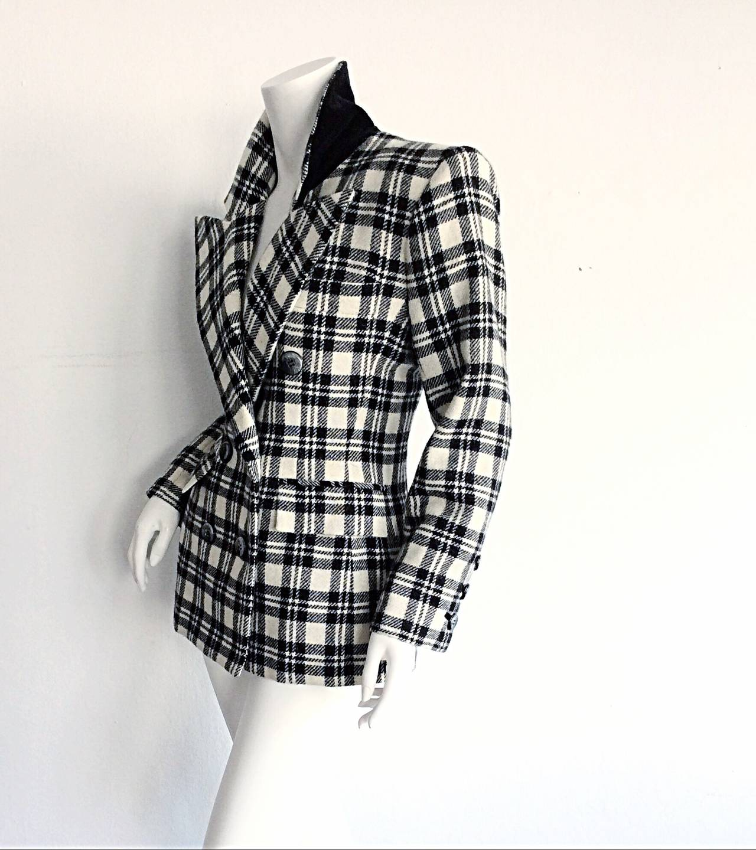 Vintage Yves Saint Laurent ' Rive Gauche ' Black + White Tartan Plaid Blazer YSL 4