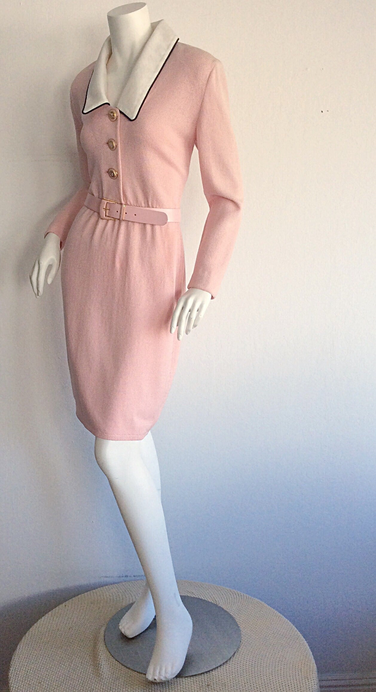 Vintage St. John Marie Gray Pink Santana Knit Belted Dress w/ Removable Collar 7