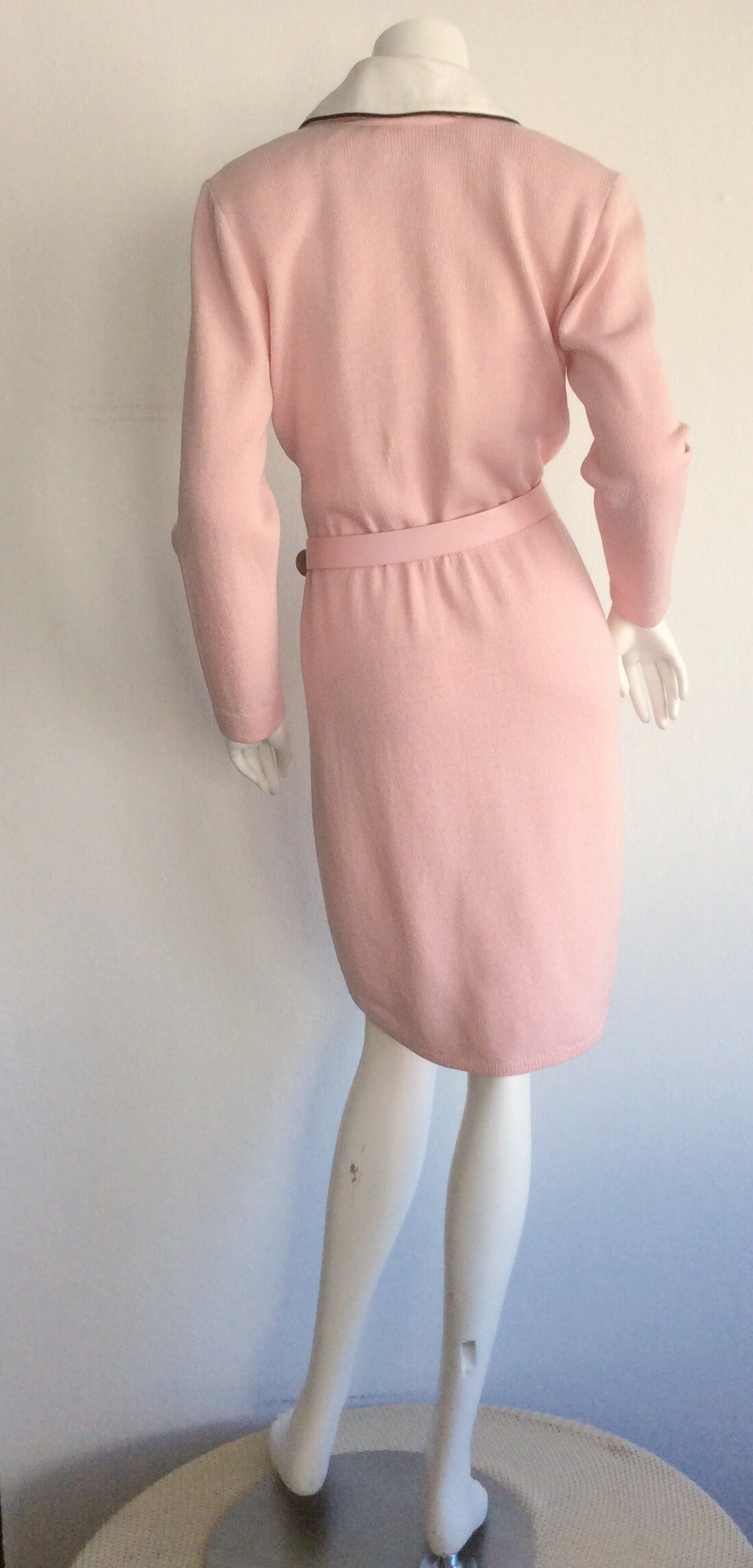Vintage St. John Marie Gray Pink Santana Knit Belted Dress w/ Removable Collar 8