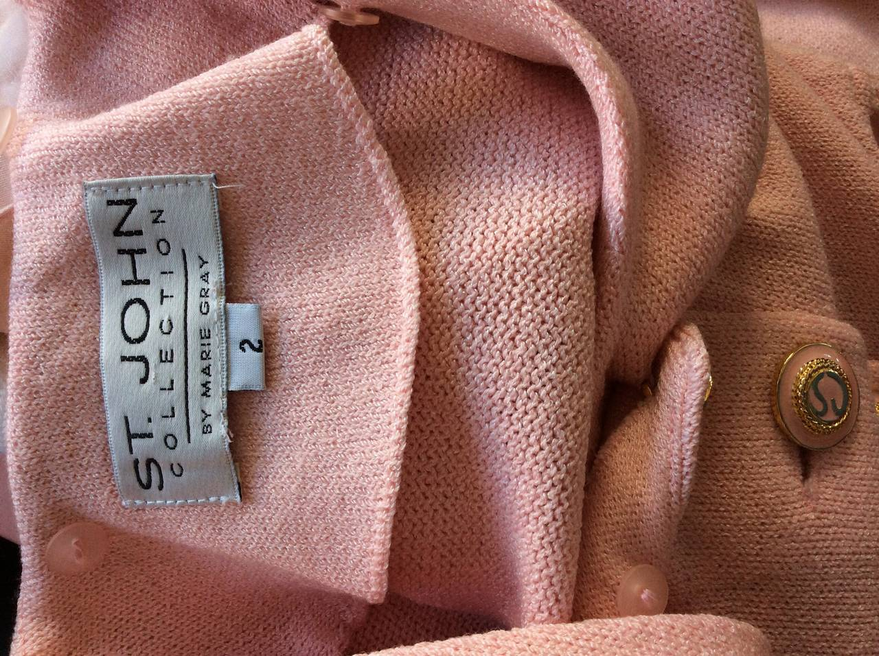 Vintage St. John Marie Gray Pink Santana Knit Belted Dress w/ Removable Collar 9