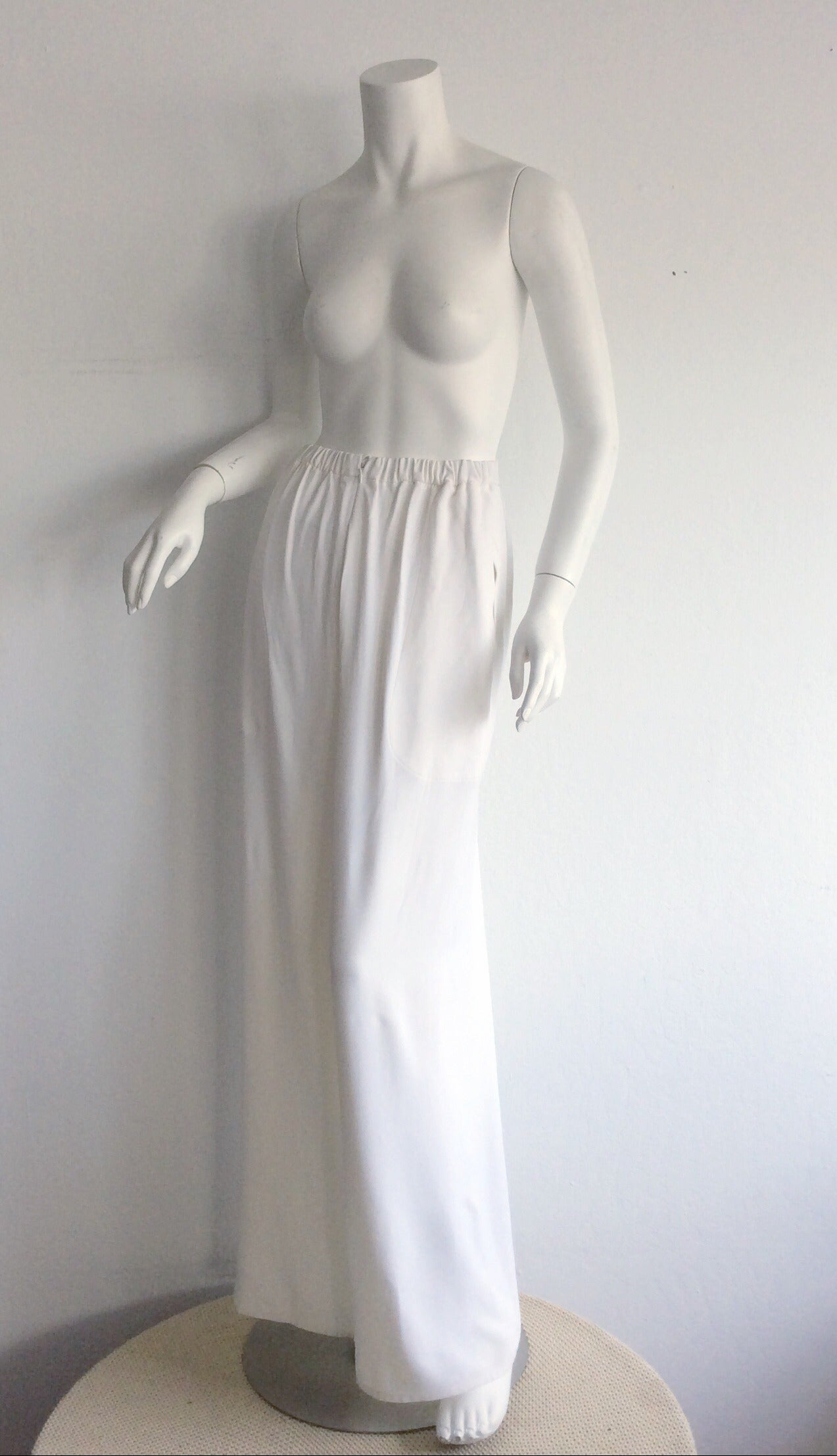1990s Vintage Christian Lacroix Wide Leg White Palazzo Runway Trousers Brand New 2