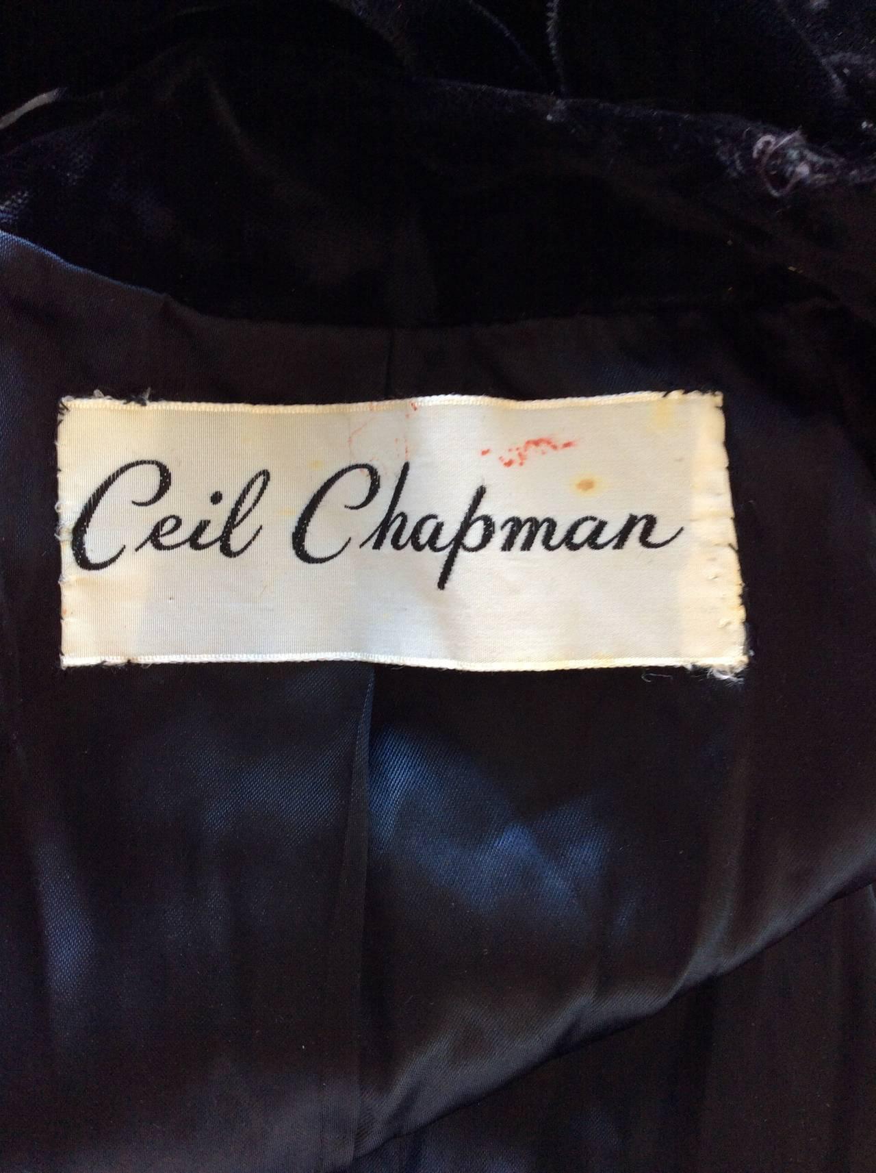Extremely Rare 1950s Ceil Chapman Black Velvet Milium Cloak Jacket 9