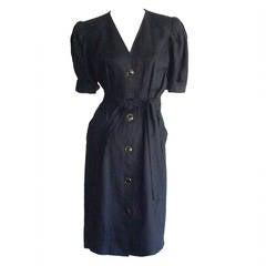 Vintage Yves Saint Laurent ' Rive Gauche ' Short Sleeve Belted Black Linen Dress
