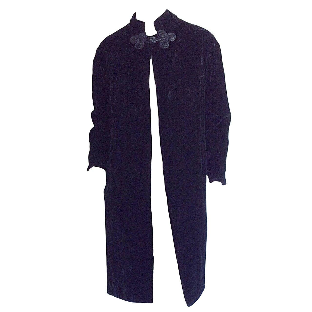 Extremely Rare 1950s Ceil Chapman Black Velvet Milium Cloak Jacket 1