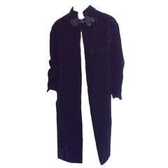 Extremely Rare 1950s Ceil Chapman Black Velvet Milium Cloak Jacket