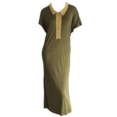 1960s Early Vintage Yves Saint Laurent Jersey Dress w/ Peter Pan Collar YSL