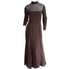 Beautiful Nolan Miller Couture Vintage Chocolate Brown Chiffon Flowy Dress