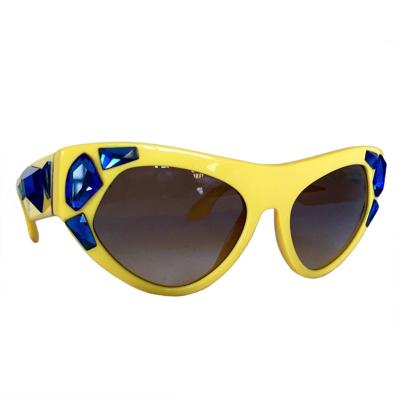 a0866c7ce591 discount impossible to find prada voice cat eye yellow sunglasses 2014  campaign 25300 e5e62