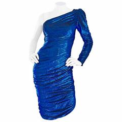 Samir 1970s Electric Metallic Blue One Shoulder Sexy Vintage 70s Disco Dress