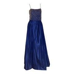 Beautiful 1950s Saks Fifth Avenue Beaded Blue Silk Taffeta Gown