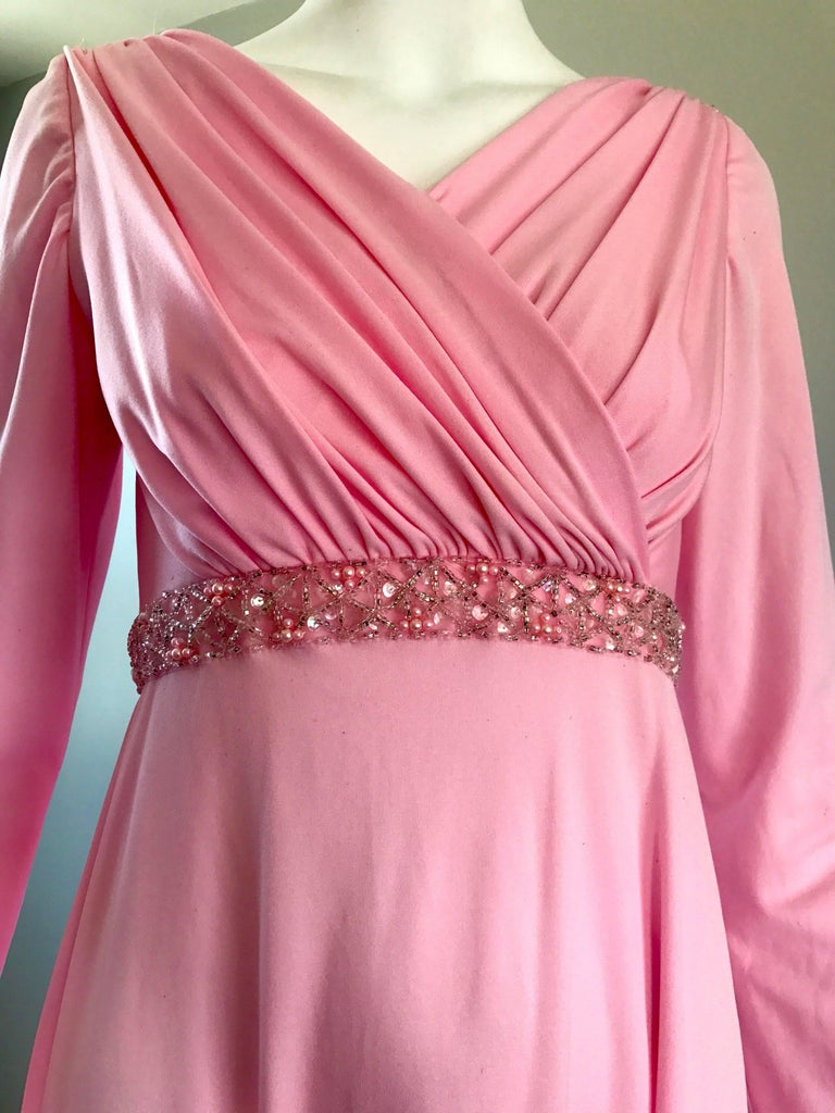 Amazing 1970s Light Pink Grecian Sequined and Beaded Long Sleeve Maxi Dress Gown For Sale 1
