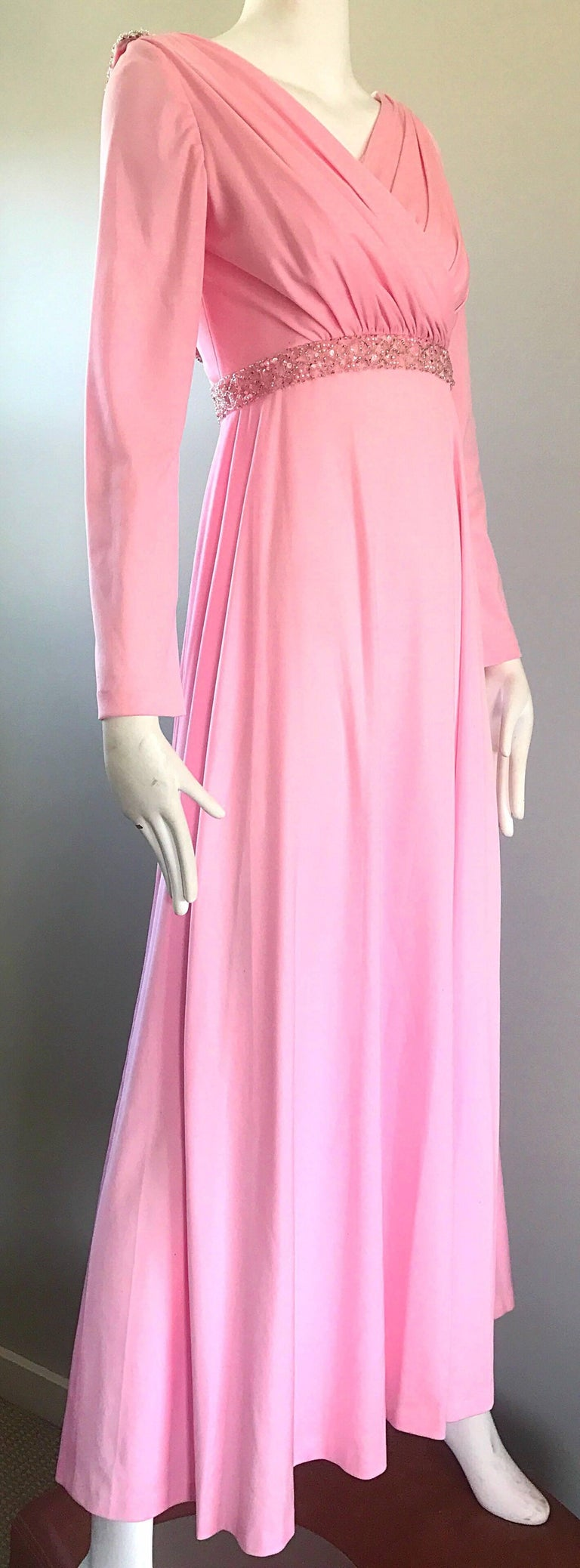 Women's Amazing 1970s Light Pink Grecian Sequined and Beaded Long Sleeve Maxi Dress Gown For Sale