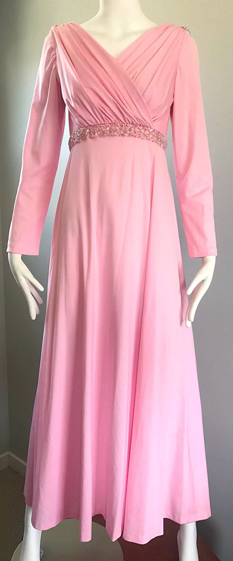 Amazing 1970s Light Pink Grecian Sequined and Beaded Long Sleeve Maxi Dress Gown For Sale 2