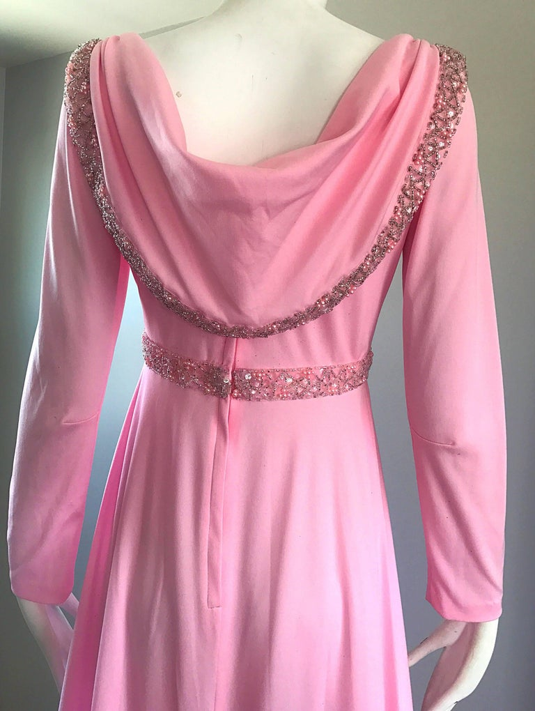 Amazing 1970s Light Pink Grecian Sequined and Beaded Long Sleeve Maxi Dress Gown In Excellent Condition For Sale In San Francisco, CA