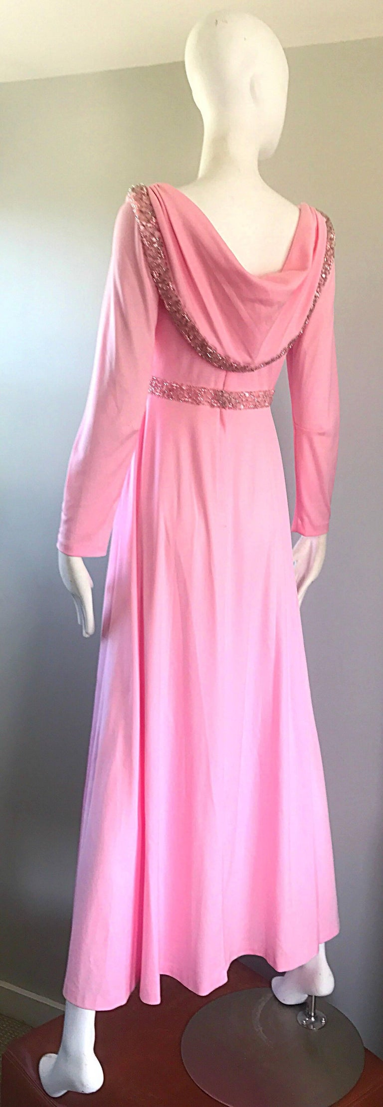 Amazing 1970s Light Pink Grecian Sequined and Beaded Long Sleeve Maxi Dress Gown For Sale 3