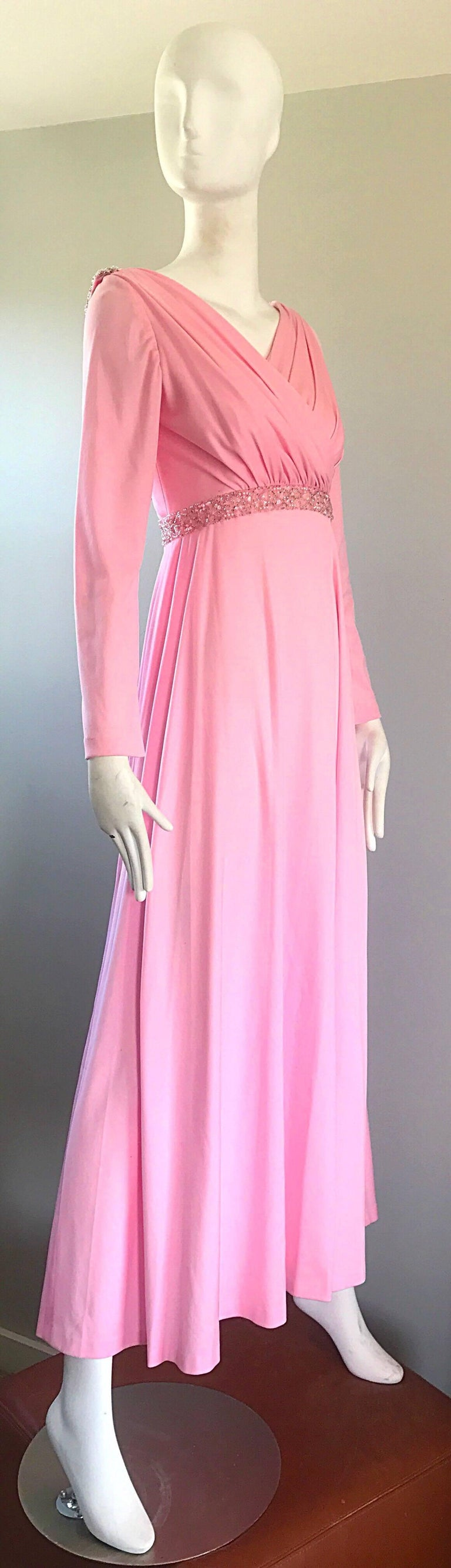 Amazing 1970s Light Pink Grecian Sequined and Beaded Long Sleeve Maxi Dress Gown For Sale 4