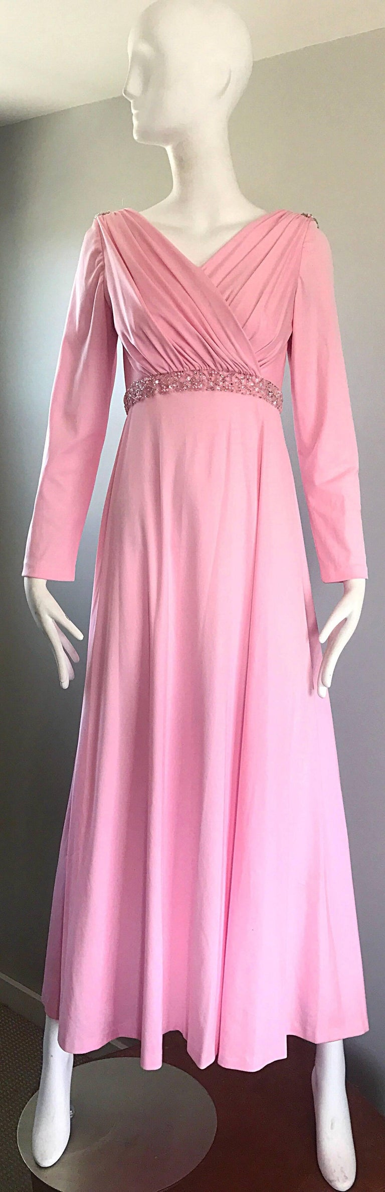 Amazing 1970s Light Pink Grecian Sequined and Beaded Long Sleeve Maxi Dress Gown For Sale 5
