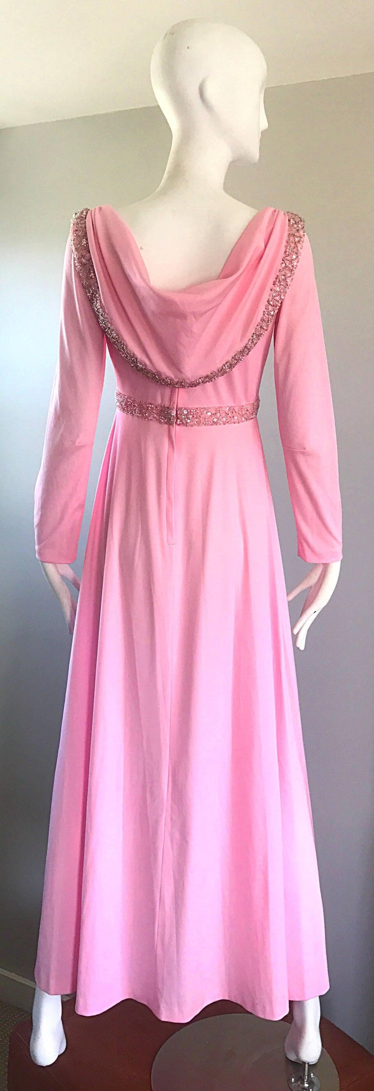 Amazing 1970s Light Pink Grecian Sequined and Beaded Long Sleeve Maxi Dress Gown For Sale 6