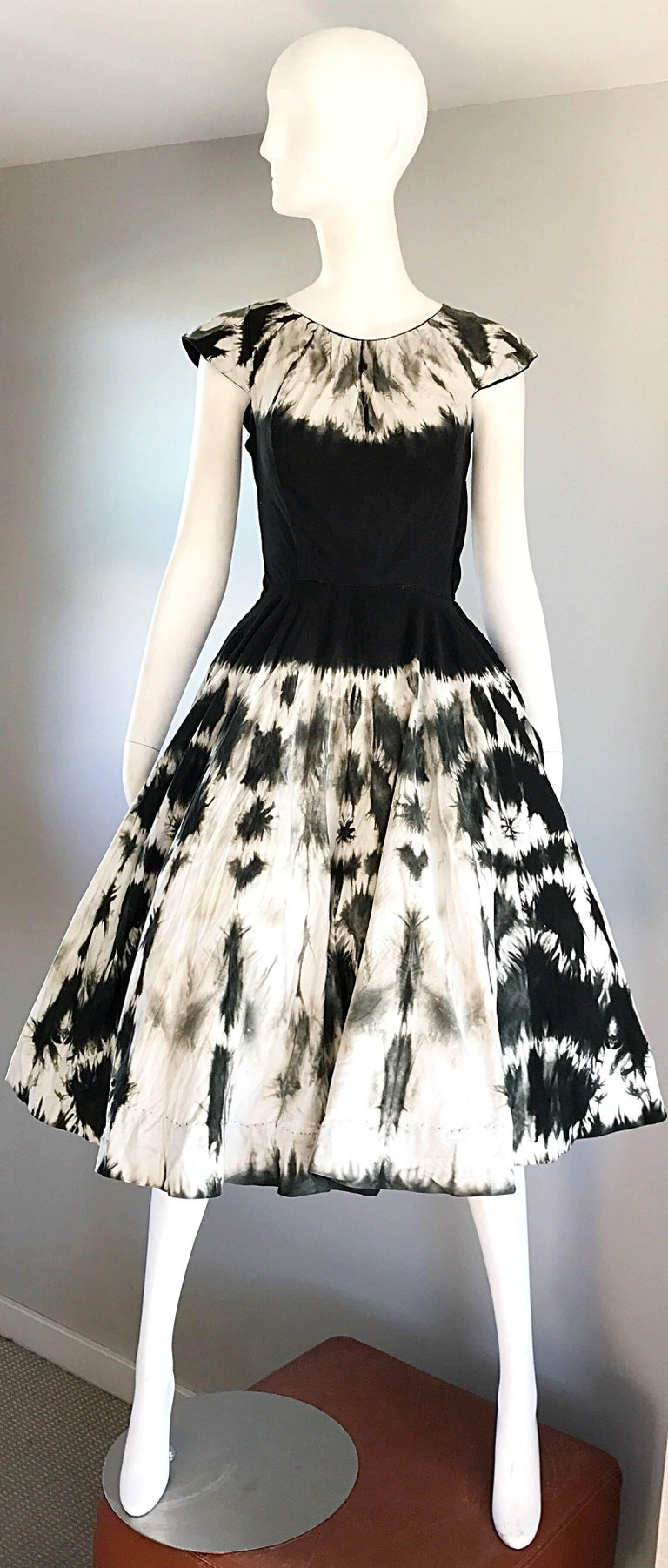 1950s Madalyn Miller 1950s Black And White Tie Dye Cotton