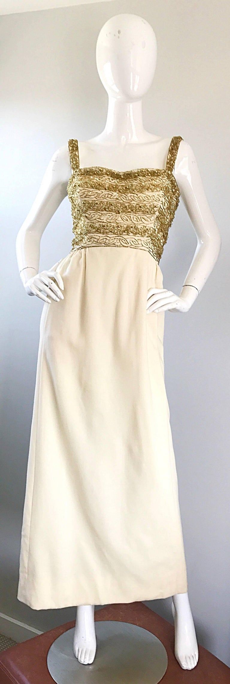 Gorgeous 1960s Joseph Magnin Ivory + Gold Beaded Vintage 60s Wool ...