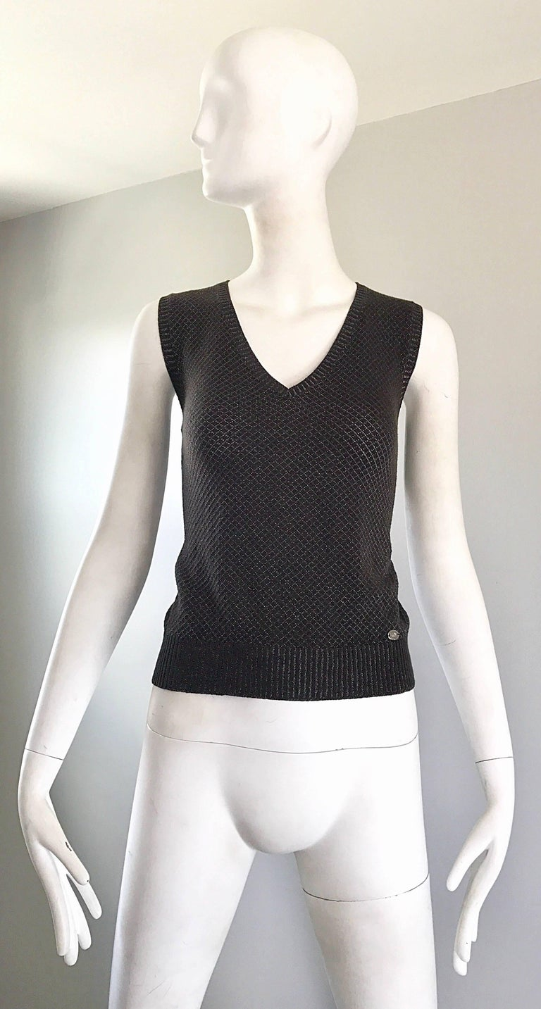Tom Ford For Gucci Brown and Silver Sleeveless 1990s Vintage 90s Sweater Vest 2
