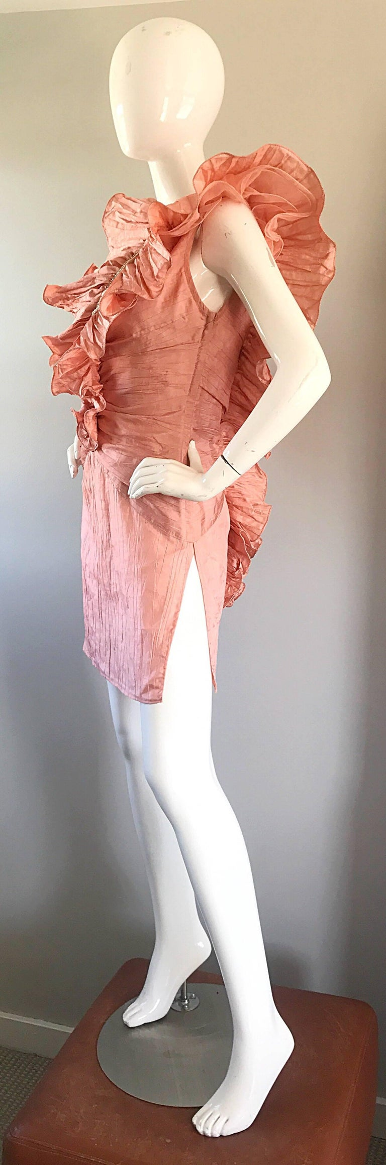 Women's Avant Garde 1980s Pink Rhinestones + Ruffles   Sleeveless 80s Cocktail Dress For Sale