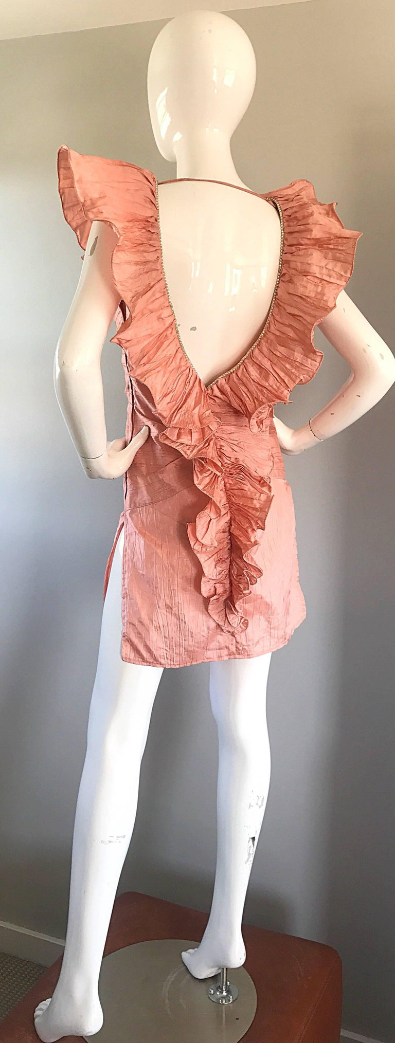 Avant Garde 1980s Pink Rhinestones + Ruffles   Sleeveless 80s Cocktail Dress For Sale 1