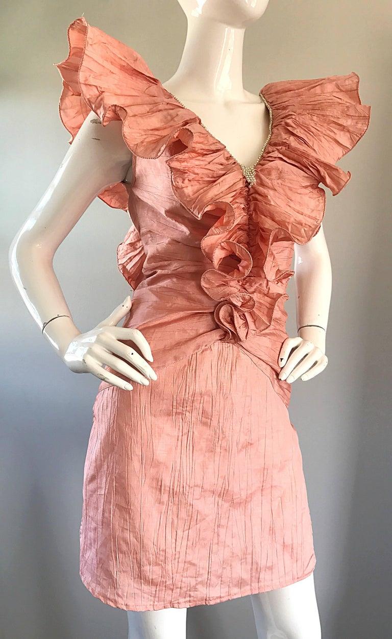 Avant Garde 1980s Pink Rhinestones + Ruffles   Sleeveless 80s Cocktail Dress For Sale 2