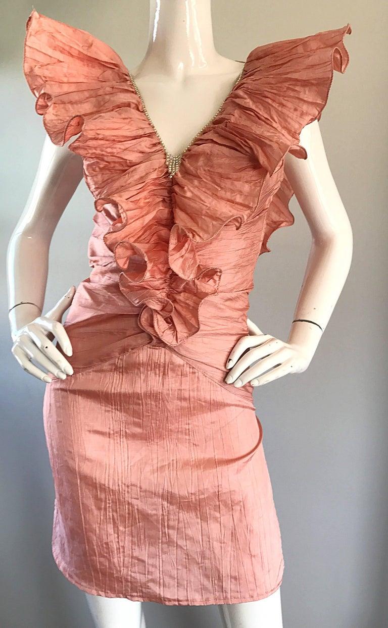 Avant Garde 1980s Pink Rhinestones + Ruffles   Sleeveless 80s Cocktail Dress For Sale 3