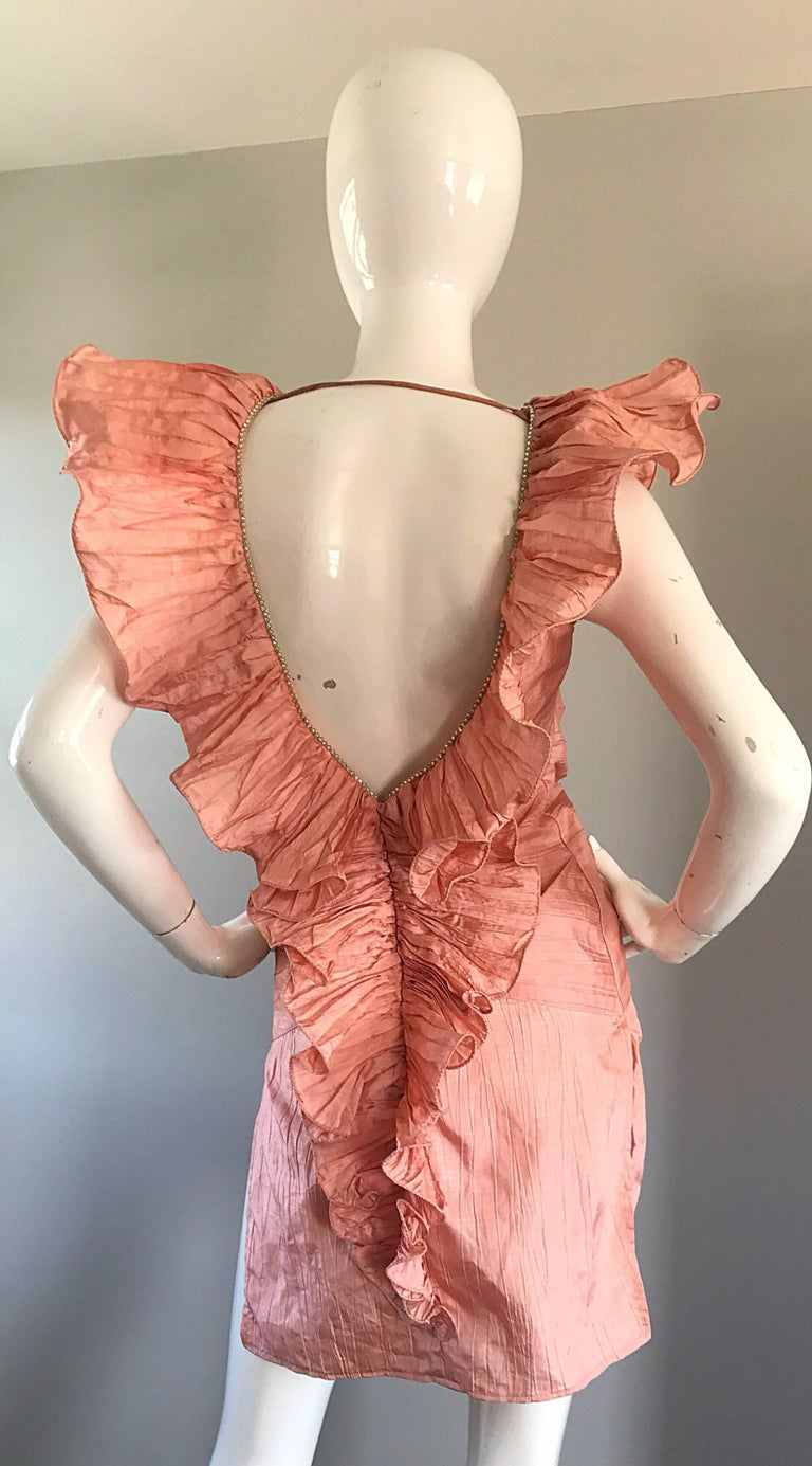 Avant Garde 1980s Pink Rhinestones + Ruffles   Sleeveless 80s Cocktail Dress For Sale 4