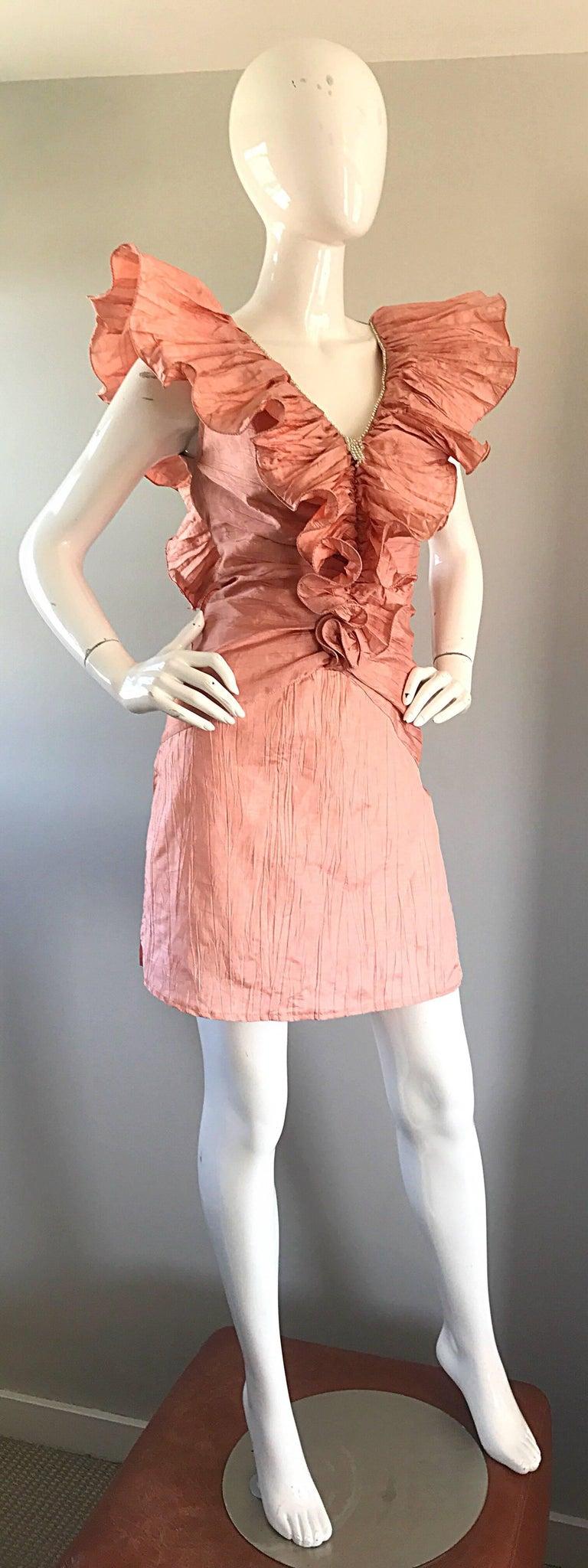 Avant Garde 1980s Pink Rhinestones + Ruffles   Sleeveless 80s Cocktail Dress For Sale 5
