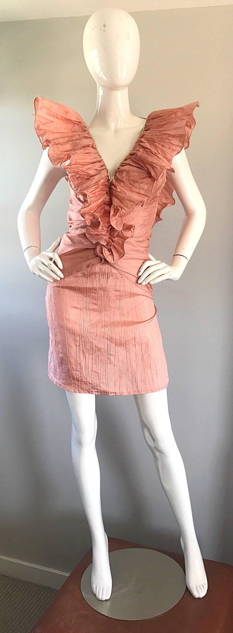 Avant Garde 1980s Pink Rhinestones + Ruffles   Sleeveless 80s Cocktail Dress For Sale 6