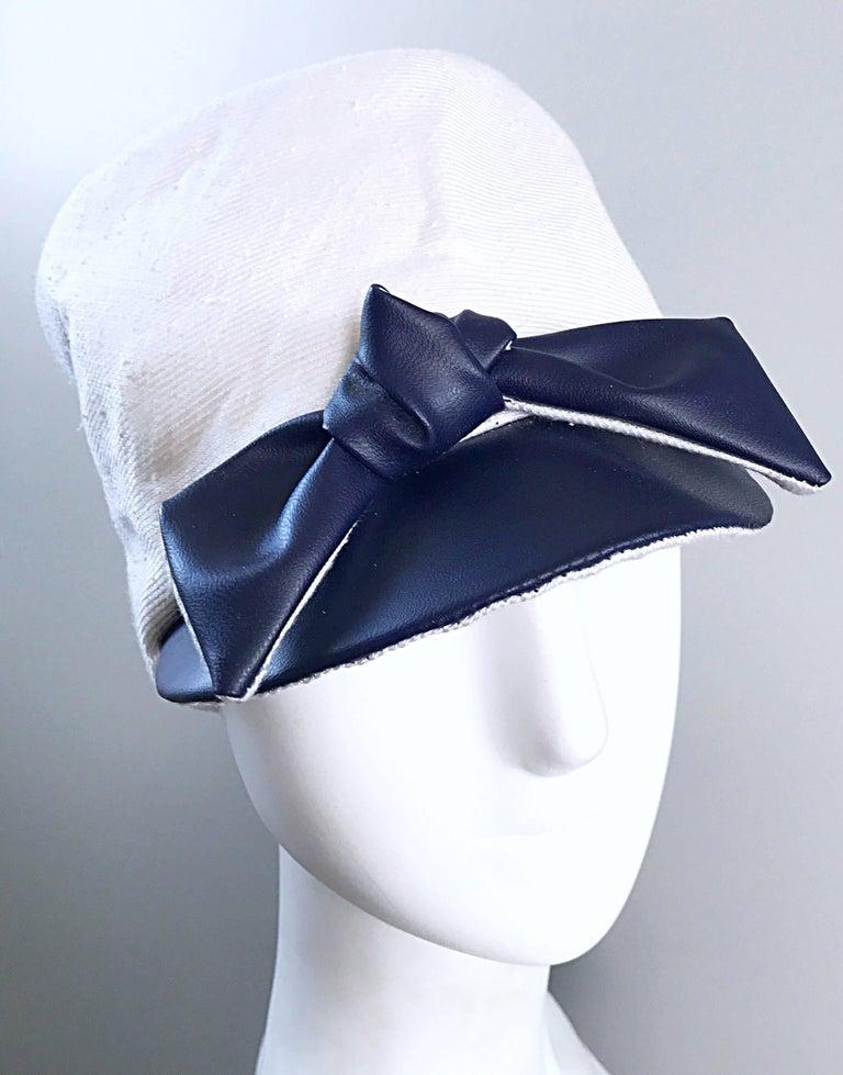Gray 1960s Oleg Cassini Navy Blue + White Mod Linen + Silk Nautical Vintage 60s Hat  For Sale