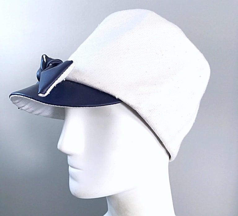 Women's 1960s Oleg Cassini Navy Blue + White Mod Linen + Silk Nautical Vintage 60s Hat  For Sale
