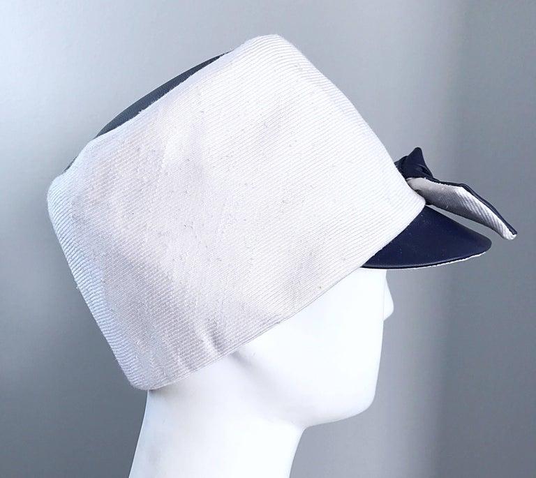 1960s Oleg Cassini Navy Blue + White Mod Linen + Silk Nautical Vintage 60s Hat  For Sale 1
