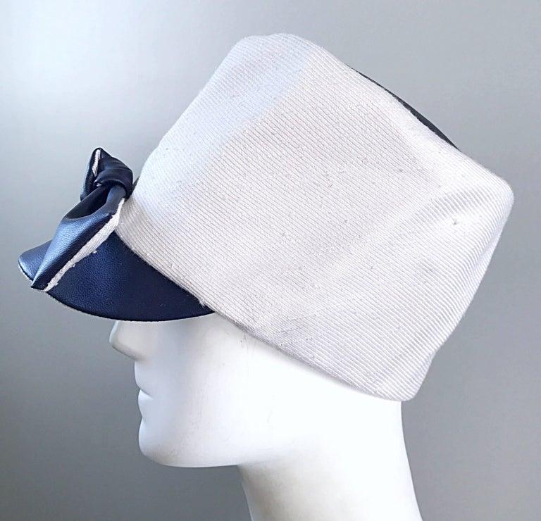 1960s Oleg Cassini Navy Blue + White Mod Linen + Silk Nautical Vintage 60s Hat  For Sale 2