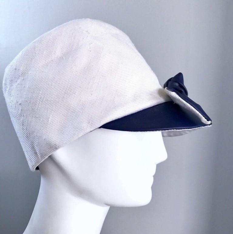 1960s Oleg Cassini Navy Blue + White Mod Linen + Silk Nautical Vintage 60s Hat  For Sale 4