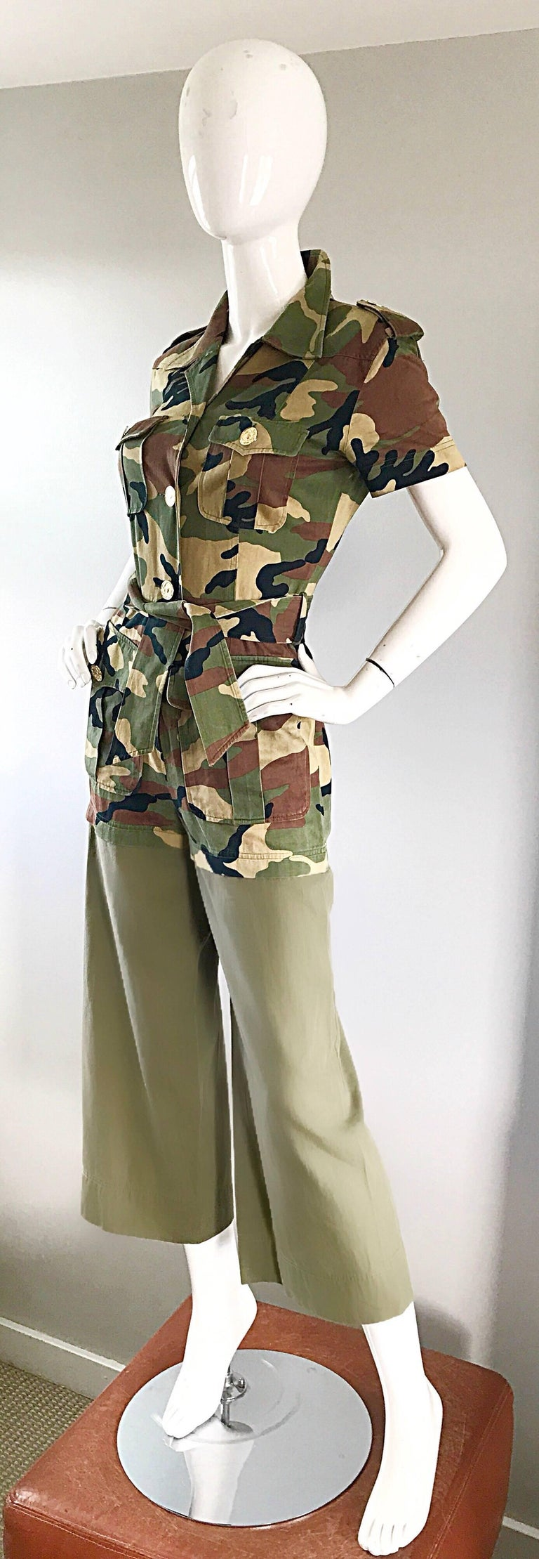 Brown Vintage Moschino Camouflage 1990s Belted 90s Rare Safari Cargo Jumpsuit Romper For Sale
