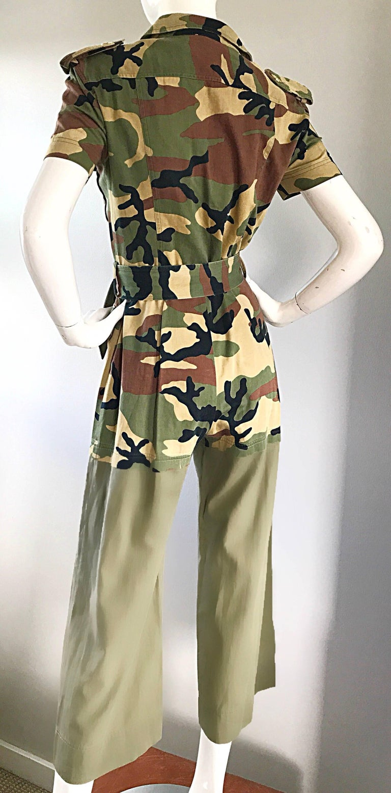 Vintage Moschino Camouflage 1990s Belted 90s Rare Safari Cargo Jumpsuit Romper In Excellent Condition For Sale In Chicago, IL