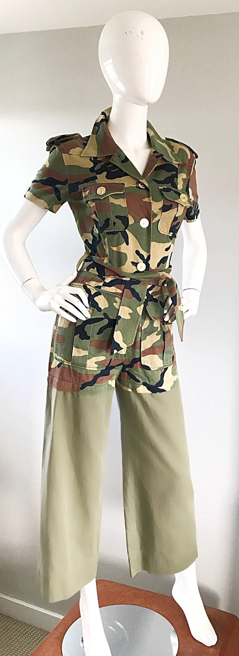 Women's Vintage Moschino Camouflage 1990s Belted 90s Rare Safari Cargo Jumpsuit Romper For Sale
