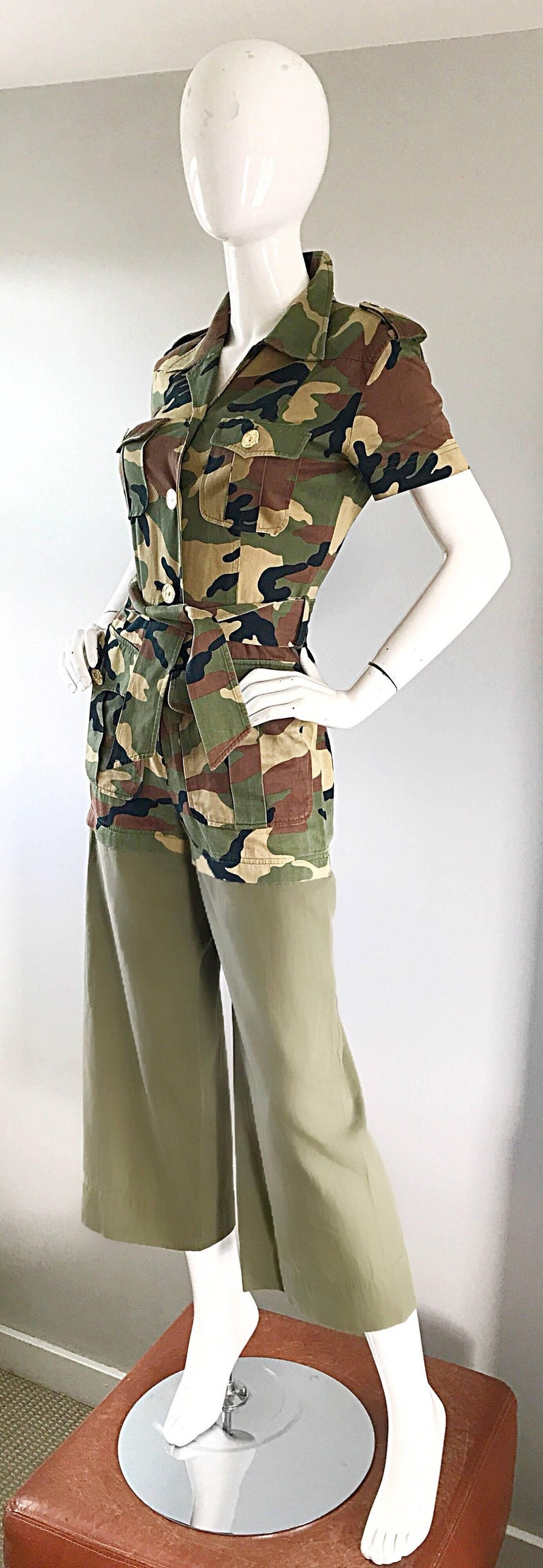 Vintage Moschino Camouflage 1990s Belted 90s Rare Safari Cargo Jumpsuit Romper For Sale 2
