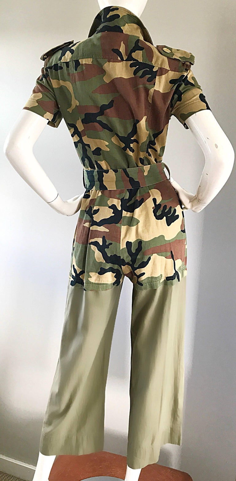 Vintage Moschino Camouflage 1990s Belted 90s Rare Safari Cargo Jumpsuit Romper For Sale 3