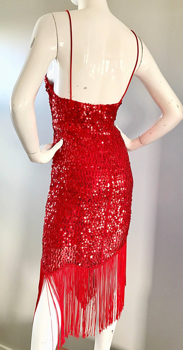 Vintage Joy Stevens 1970s Does 1920s Flapper Style Sequin Sz 10 Fringe Red Dress In Excellent Condition For Sale In Chicago, IL